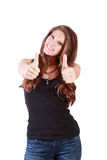 Young happy woman thumbs up by two hands Royalty Free Stock Images