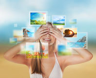 Young happy woman with travel vacation memories Stock Image