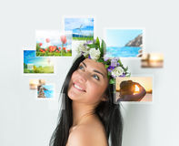Young happy woman with travel vacation memories Stock Photos