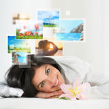 Young happy woman with travel vacation memories Royalty Free Stock Photography