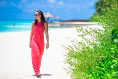 Young happy woman during tropical beach Stock Photos