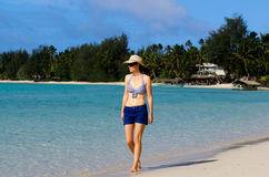 Young Happy Woman on Vacation in Pacific Island Stock Images