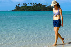 Young Happy Woman on Vacation in Pacific Island Stock Image