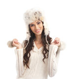 A young and happy woman in a warm winter hat Royalty Free Stock Photography