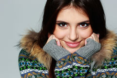 Young happy woman in warm winter outfit Royalty Free Stock Images