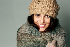 Young happy woman in warm winter outfit Royalty Free Stock Photography