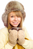 Young happy woman wearing winter cloth Royalty Free Stock Image