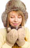 Young happy woman wearing winter cloth Royalty Free Stock Photo