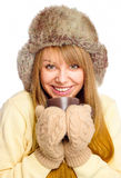 Young happy woman wearing winter cloth Royalty Free Stock Photography
