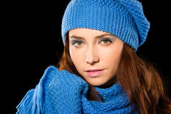 Young happy woman wearing winter cloth Stock Photography