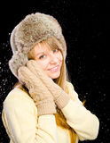 Young happy woman wearing winter cloth Stock Image
