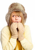 Young happy woman wearing winter cloth Royalty Free Stock Photos