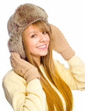 Young happy woman wearing winter cloth Royalty Free Stock Images