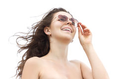 Young happy woman on white background Stock Photo
