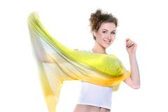 Young happy woman with yellow scarf Royalty Free Stock Photos