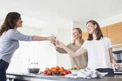 Young women drinking champagne in kitchen Stock Photography