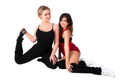Young happy women doing fitness exercise Royalty Free Stock Image