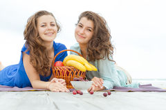 Young happy women on natural background Stock Photo