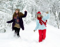 Young happy women outdoor in winter Royalty Free Stock Images