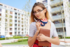 Young happy women or student on the property business background Stock Photography