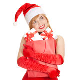 Young happy xmas woman with a gifts Royalty Free Stock Photos