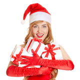 Young happy xmas woman with a gifts Stock Photography
