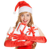 Young happy xmas woman with a gifts. Young happy beautiful xmas woman with a gifts royalty free stock photography