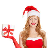 Young happy xmas woman holding gift Stock Images