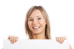 Young hapy girl holding a copy space. Stock Photography