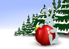 Young hare. Hugs a red christmas ball Stock Image
