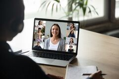 Free Young Have Online Course With Female Colleagues Stock Image - 181509021