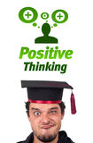 Young head looking at positive negative signs. Young persons head looking with gesture at positive negative signs Stock Images