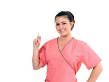 Young Healthcare professional - holding needle Royalty Free Stock Photo