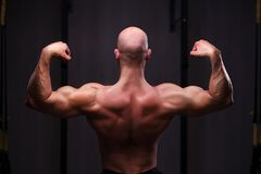 Young healthy bald ripped man with big muscles posing in gym, vi royalty free stock photo