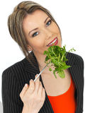 Young Healthy Business Woman Eating Mixed Leaves Salad Royalty Free Stock Photos