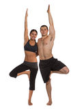 Young Healthy Couple Workout Together Isolated Stock Photography