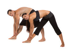 Young Healthy Couple Workout Together Isolated Royalty Free Stock Photography