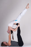 Young healthy couple in yoga position, Man and woman Royalty Free Stock Photo