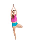 Young healthy girl doing stretching exercises Royalty Free Stock Images