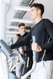 Young healthy group of people working out on a elliptic trainer. In a fitness center Stock Image