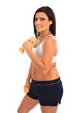 Young Healthy Looking Female Workout Holding Weigh Stock Images