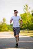 Young Healthy Man Jogging in the Woods Royalty Free Stock Images
