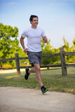 Young Healthy Man Jogging in the Woods Stock Photography