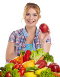 Young healthy woman with fruits and vegetables. Stock Photo
