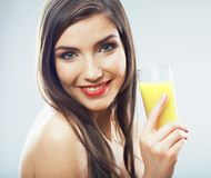 Young healthy woman hold juice glass . Isolated Stock Image