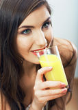 Young healthy woman hold juice glass . Stock Image
