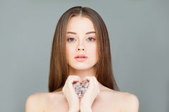 Young Healthy Woman with Ice Cubes Stock Image