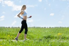 Young Healthy Woman Jogging In Park Stock Image