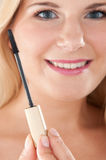 Young healthy woman with mascara Stock Images