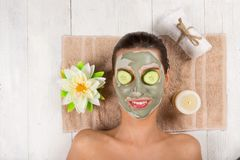 Young healthy woman with face mask. Stock Photo
